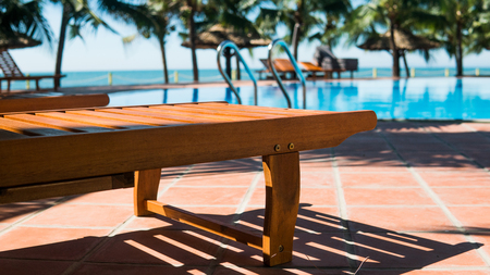 sun lounger during a tropical holiday. Conditions for a perfect tan Stock Photo
