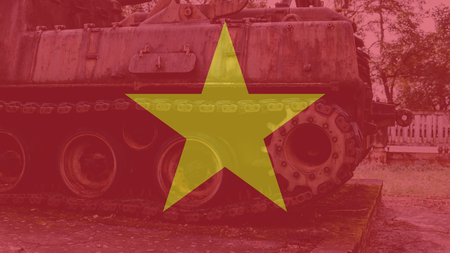 The Vietnamese military museum with an exhibition of captured equipment. Trophy American military equipment