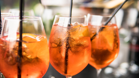 summer citrus cold alcohol drink Aperol Spritz close-up Stock Photo