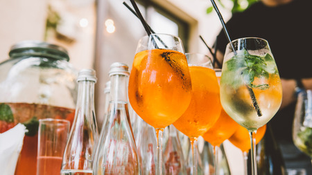 classic alcoholic cocktails in crystal glasses close-up Stock Photo