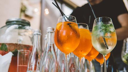 classic summer alcoholic cocktails. Citrus alcohol cocktail close-up