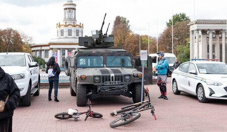 Kyiv, Ukraine - 6 october 2019 : Exhibition of modern military Ukrainian equipment during the war with Russia. Military equipment to protect the territories of Ukraine Publikacyjne
