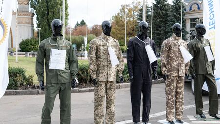 Kyiv, Ukraine - 6 october 2019 : Exhibition of modern military weapons for the Ukrainian military. Publikacyjne
