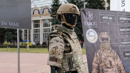 Kyiv, Ukraine - 6 october 2019 : Military festival in Kiev. military ammunition for the soldiers of the Ukrainian army. Contract Army in Ukraine Publikacyjne