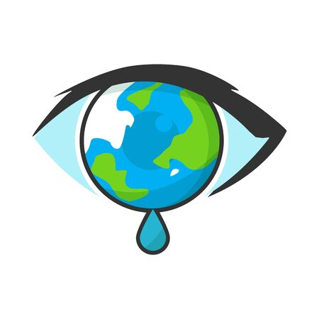 illustration of a crying earth, with a modern design