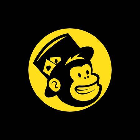 vector head of a magician monkey inside a yellow circle, in black baground Illusztráció