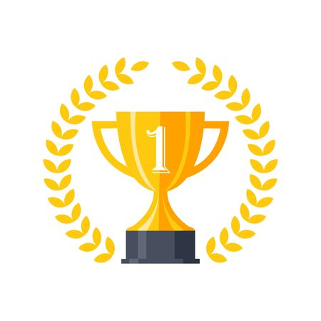 Trophy cup, award, vector icon in flat style Archivio Fotografico - 129706834