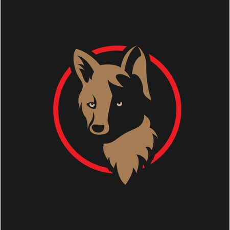 Vintage wolf face logo emblem in red circle, template for business or t-shirt design concept