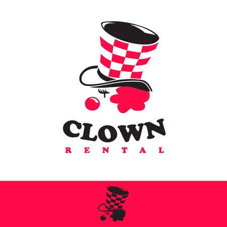 logo icon clown rental wearing a pink-haired hat simple designs illustration