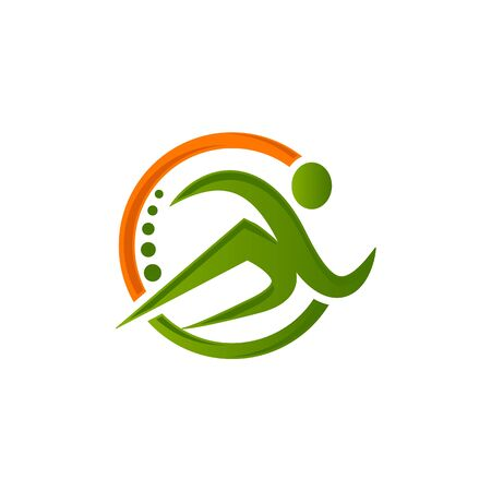 Runner logo. Fast simple stylized athlete figure.