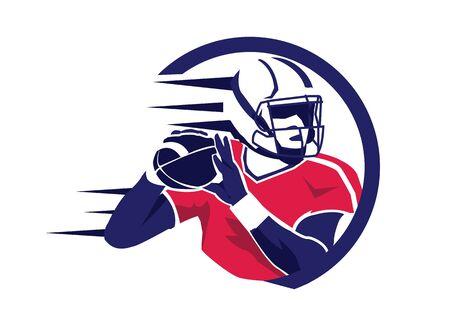 Illustration vectorielle de joueur de football américain Vecteurs
