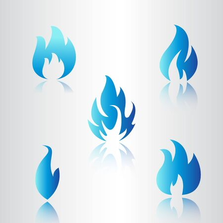 Set of blue fire icons, Flat fire flame vector illustration. Collection of blue flames or campfires isolated on white. Illustration