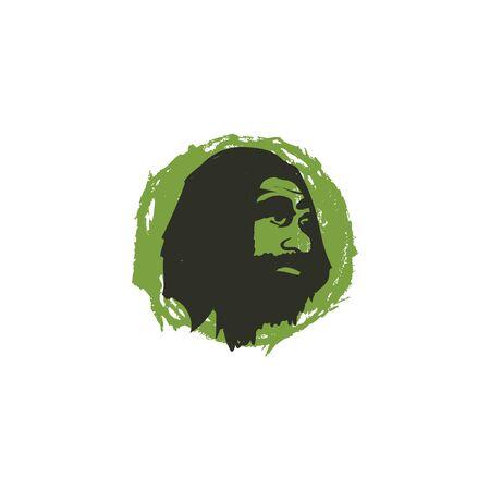 vector logo caveman head, ancient human illustration for vintage logo