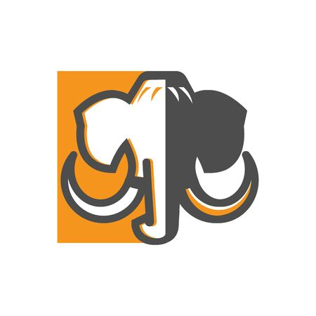 mammoth vector illustration logo element, mascot or avatar icon- abstract design 일러스트