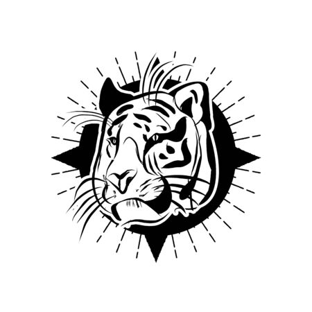 line illustration of a tiger head, suitable as tattoo, team mascot, symbol for zoo or animal preservation center