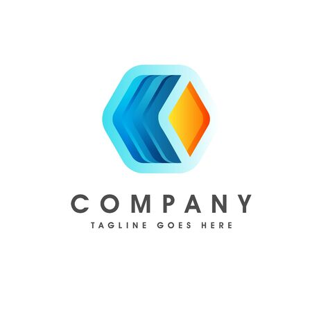 Logo of a stylized and colorful hexagonal shape built with polygons. This logo is suitable for many purpose as corporate identity, mobile and technologies development, engineering firm and more. Illustration