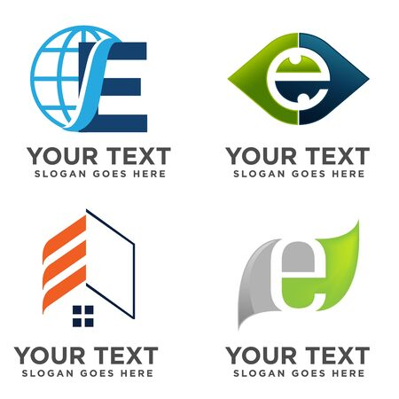 E Letter Logo collection, Abstract logotype for business company, sports, digital technology, social media, geometric icons set. Illustration