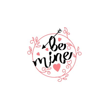 Valentine s Day vector lettering . Isolated handwriting calligraphy love quotes and inscriptions. Modern romantic design elements for holiday card, gift tag, banner, poster, postcard Illusztráció