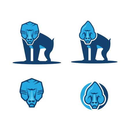 set Flat icon illustration of mascot of a baboon Banque d'images - 130210553