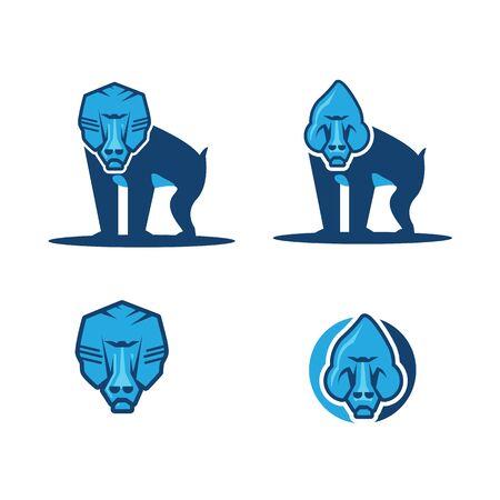 set Flat icon illustration of mascot of a baboon