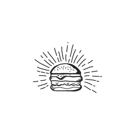 Delicious burger or fastfood icons filled line style with isolated background. Ilustracja