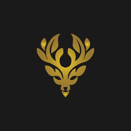 Deer head vector design wild animal with leaf horns quality stylish,