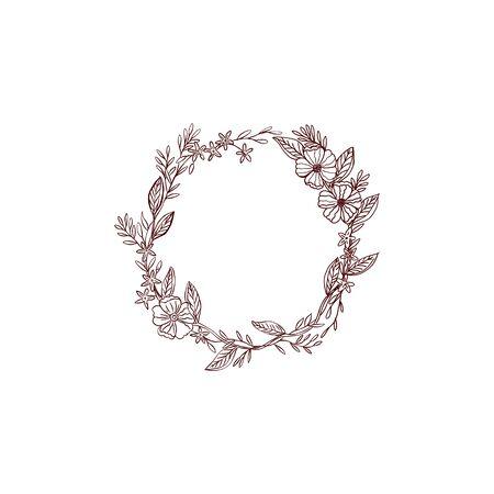 Hand drawn vintage flower wreath