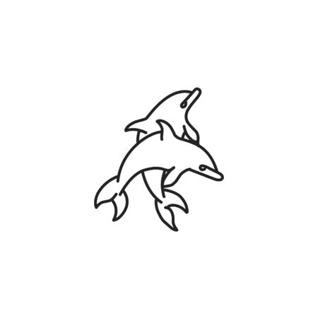 Outline illustration of a jumping dolphins. Line art. The object is separate from the background. Vector element for tattoos, t-shirt printing, and your design.