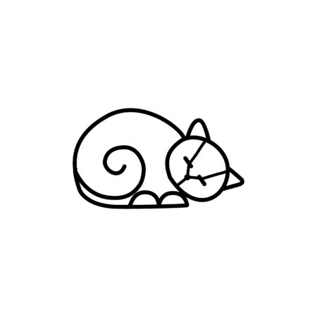 Home pets, minimalist monoline lineart outline cat icon  template vector illustration, Modern kitten label for Veterinary clinic  concept. petfood  イラスト・ベクター素材