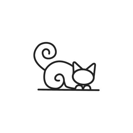Home pets, minimalist monoline lineart outline cat icon  template vector illustration, Modern kitten label for Veterinary clinic  concept. petfood Stock Illustratie