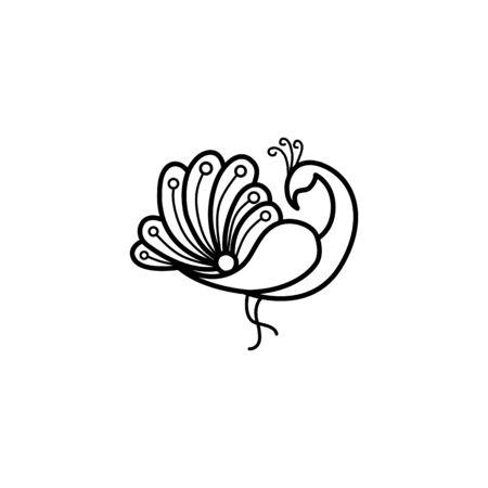 Vector illustration of peacock, minimalist monoline lineart outline bird icon template vector illustration,