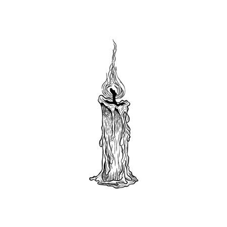 Croquis dessiné de main de vecteur de bougie dans le style dessiné à la main d'encre.
