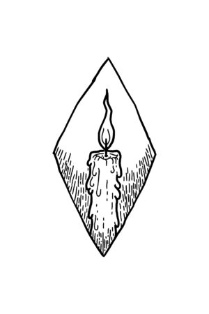 Vector hand drawn sketch of candle in ink hand drawn style. Ilustracje wektorowe