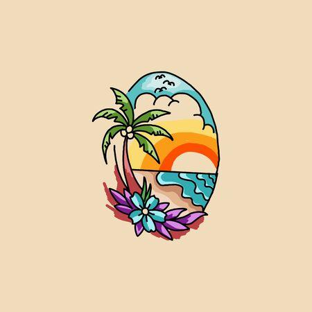 Palm trees on the ocean island. Vector illustration