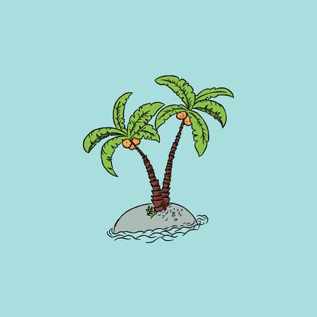 Palm trees on the ocean island. Vector illustration