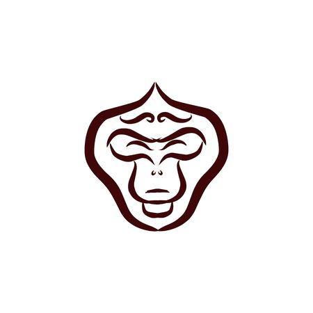 Monkey face and icon. Line art. Monkey head and ape for avatar, portrait, profile, print. Ape icons, vector illustration.