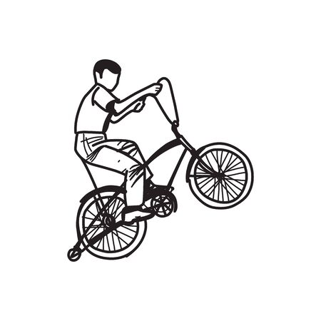 Retro style vector illustration of a boy riding ancient bicycle