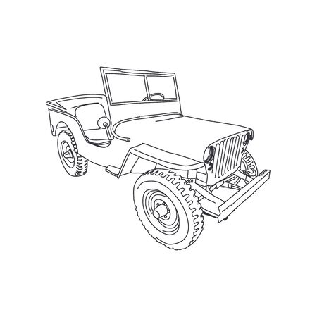 Military vehicle  army vector line art Hand drawn illustration Stock Illustratie
