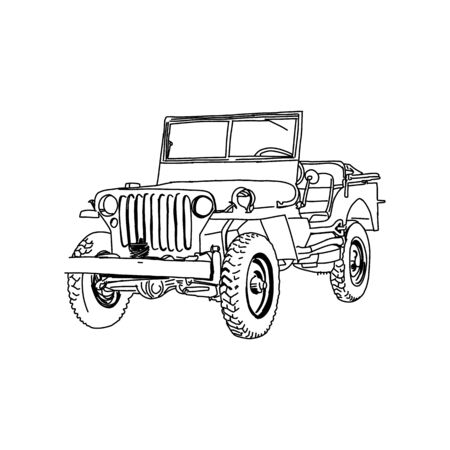 Military vehicle army vector line art Hand drawn illustration