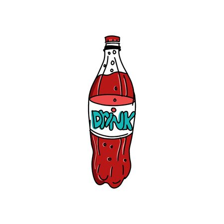 Bottle of soda. Cola in plastic tarre. Vector illustration retro design. Isolated on white background. Fast food drink symbol. Carbonated drink. Refreshing cola.
