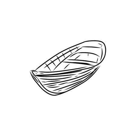 Sketch of wooden row boat, Hand drawn illustration Çizim
