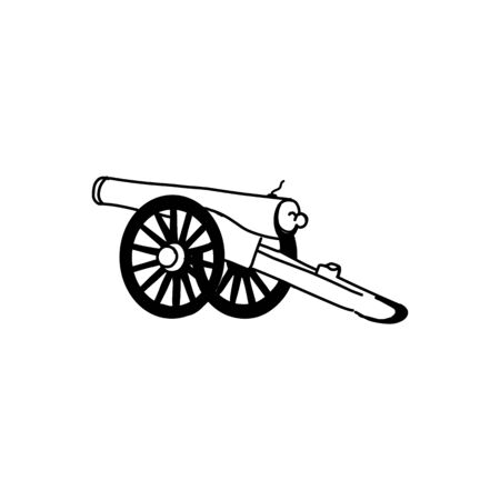 Vector ancient cannon, vintage ink engraving illustration arm weapon hand drawn doodle sketch
