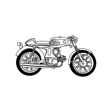 Silhouette of Old Motorcycle - vintage motorcycle Stock Illustratie