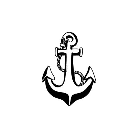 Vintage sea anchor with a rope. Hand drawn vector