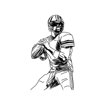 American football player, abstract vector silhouette Stock Illustratie
