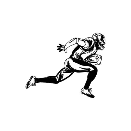 American football player, abstract vector silhouette Illustration