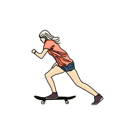 A skater style. Skateboard Vector illustration. Street sports, skateboarding, extreme. Hand drawn colored vector illustration isolated on white
