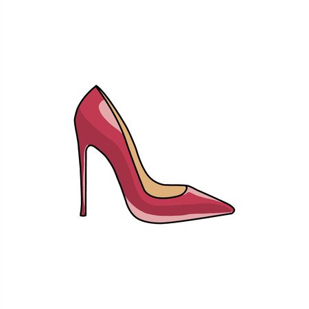 Red high heels shoe - Vector Illustration isolated on white background.