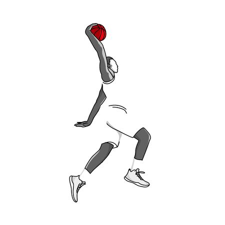 vettore Il giocatore di basket salta in aria per sparare con una postura schiacciata. Vettoriali