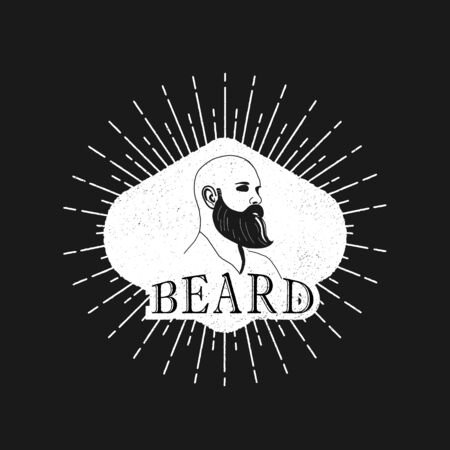 bald man with beard, vintage style vector  イラスト・ベクター素材